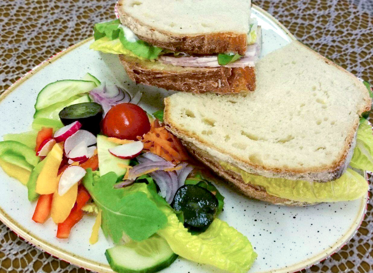 Hearty hand-cut sandwich